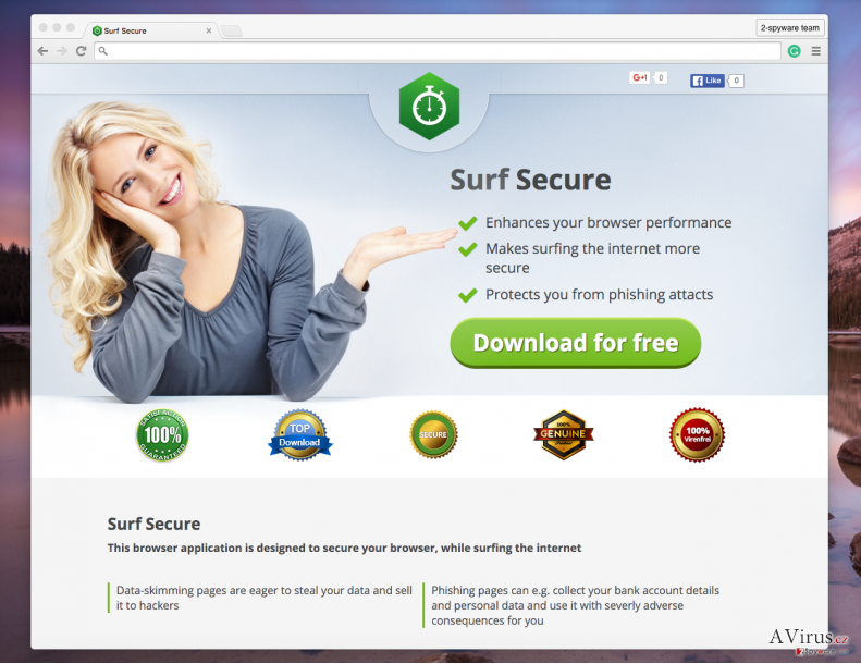 Surf Secure adware official page