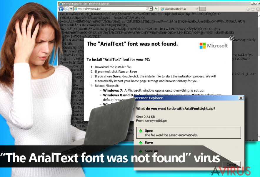 "A ""The ArialText font was not found"" malware"