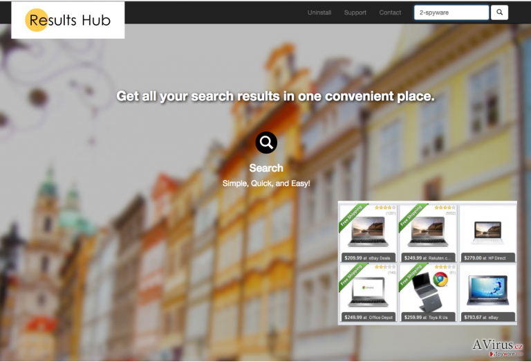 The picture showing Results Hub ads and search engine