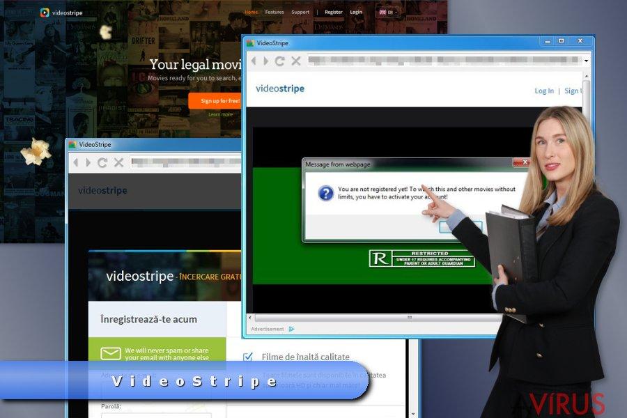 Példa a VideoStripe felugró hirdetéseire