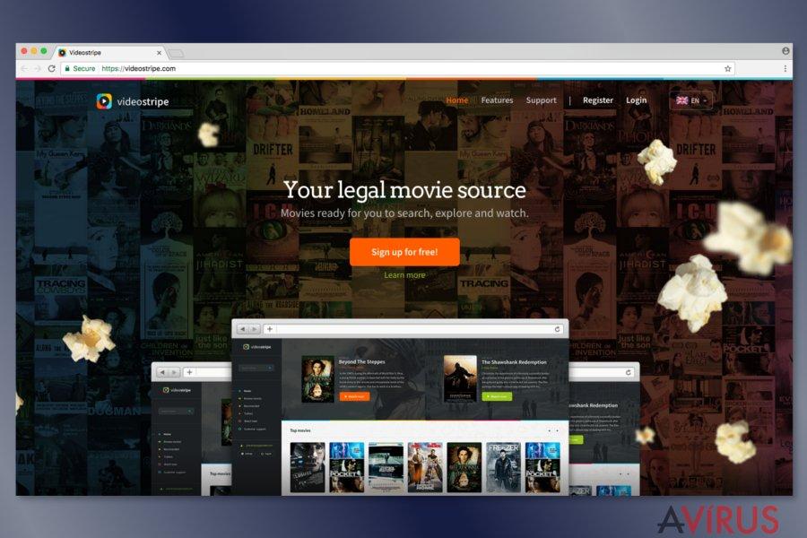 Képernyőkép a VideoStripe weboldaláról