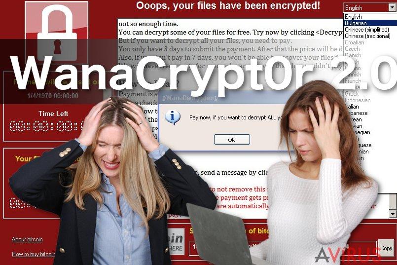 Kép a WanaCrypt0r 2.0 ransomware vírusról