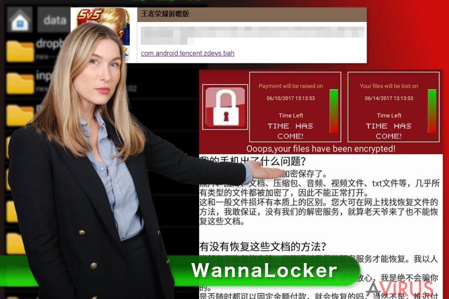 A WannaLocker ransomware vírus képe