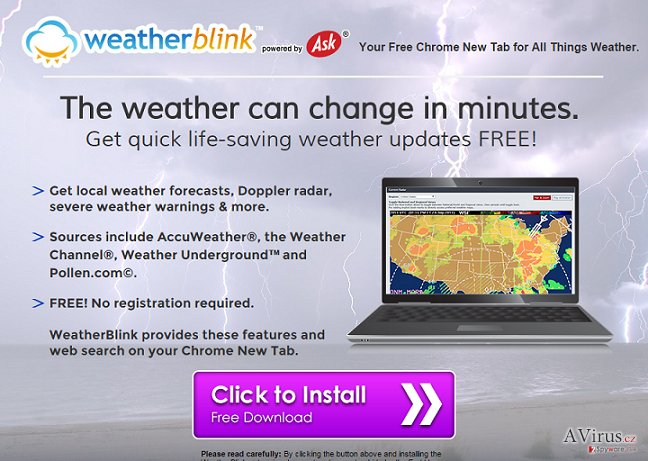 WeatherBlink Toolbar kép