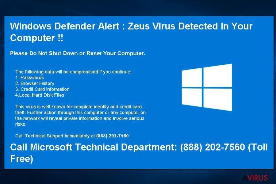 """Képernyőkép a """"Windows Defender Alert: Zeus Virus"""" ügyfélszolgálati csalásról"""