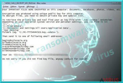 Kép az XData ransomware vírusról