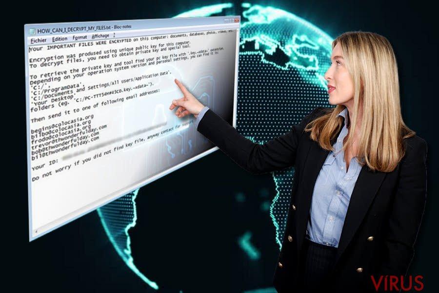 Az XData ransomware üzenete