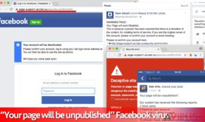 "A Your page will be unpublished"" Facebook vírus"