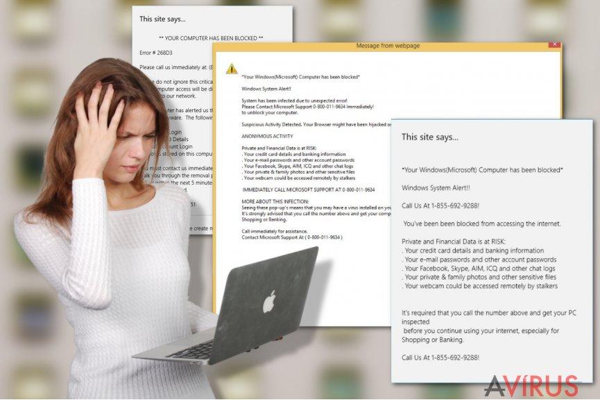 A Your Windows (Microsoft) Computer has been blocked ábrázolása