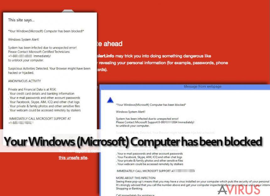 A Your Windows (Microsoft) Computer has been blocked hamis értesítése