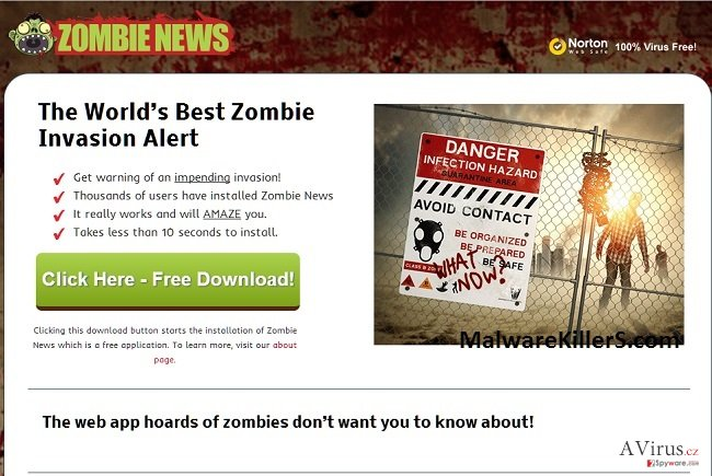 Zombie News adware kép