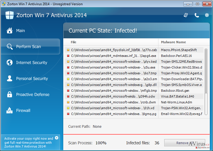 Zorton Win 7 Antivirus 2014 kép